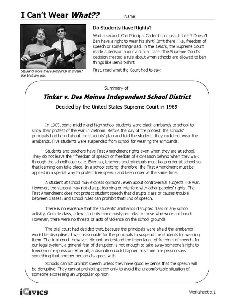 tinker v des moines   Primera Enmienda a la Constitución de