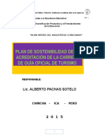 Plan de Sostenibilidad de Turismo 2015