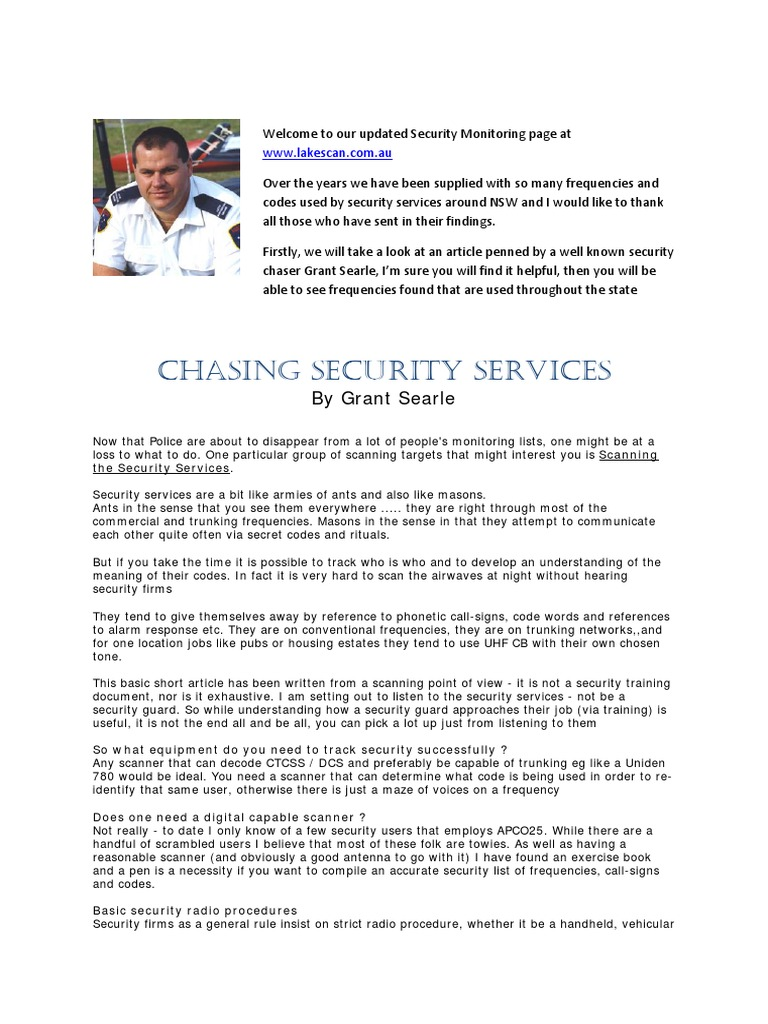 Security Codes - Radio | Sydney | Security Guard