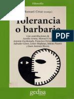 Cruz, Manuel (Comp.) - Tolerancia o Barbarie