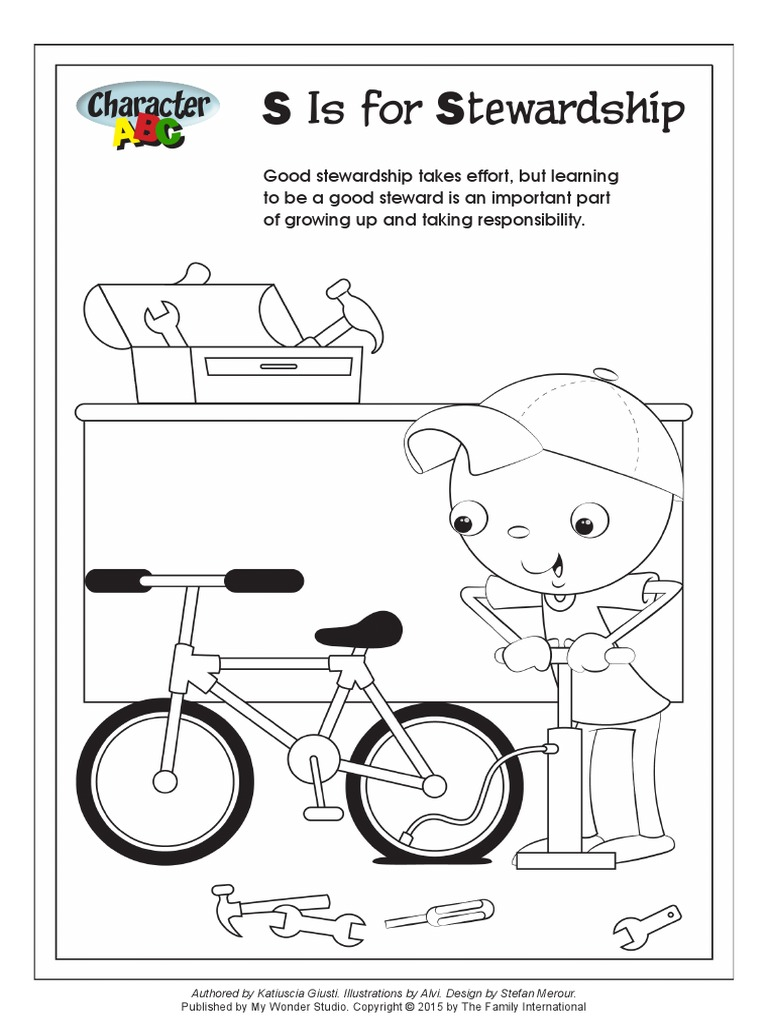 Character ABC: S is for Stewardship- Coloring Page