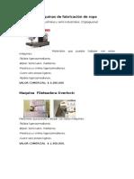 Cotización Maquinas de Fabricación de Ropa