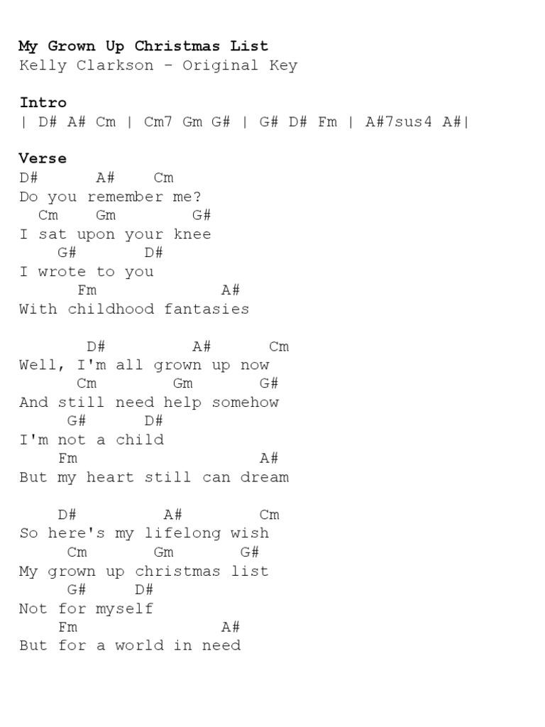 My Grown Up Christmas List - Kelly Clarkson (Original Key)