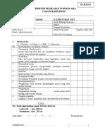 Formulir Penilaian Data Calon Karyawan Baru