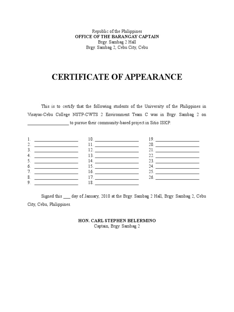 Certificate of appearance from barangay yadclub Images
