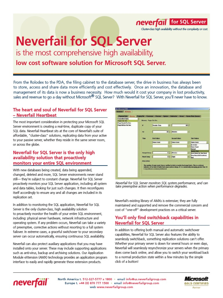 Neverfail sql server datasheet microsoft sql server windows 2000 1betcityfo Choice Image