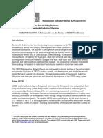 GREEN BUILDING a Retrospective History of LEED Certification November 2012