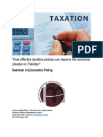 How effective taxation policies can improve the economic situation in Pakistan