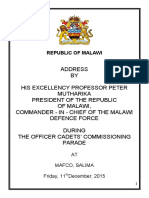 Address by President Arthur Peter Mutharika, Commander-In-chief of the MDF During the Officer Cadets' Commissioning Parade at MAFCO, Salima on Friday, December 11, 2015