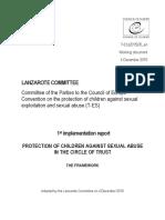 Primul Raport al Convenției Consiliului Europei pentru protectia copiilor impotriva exploatarii sexuale si a abuzurilor sexuale