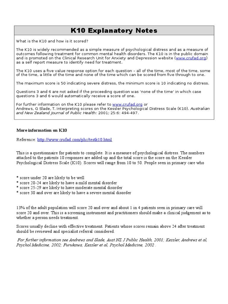 K10 Kessler Dep & Anx Assess | Mental Disorder | Psychology