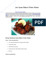 Cara Membuat Ayam Bakar Pedas Manis Mantap