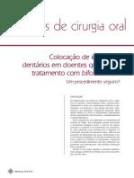 Colocação de implantes dentários em doentes que fazem tratamento com bifosfonatos