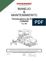 Dynapac F2500. Manual de operación y mantenimiento.