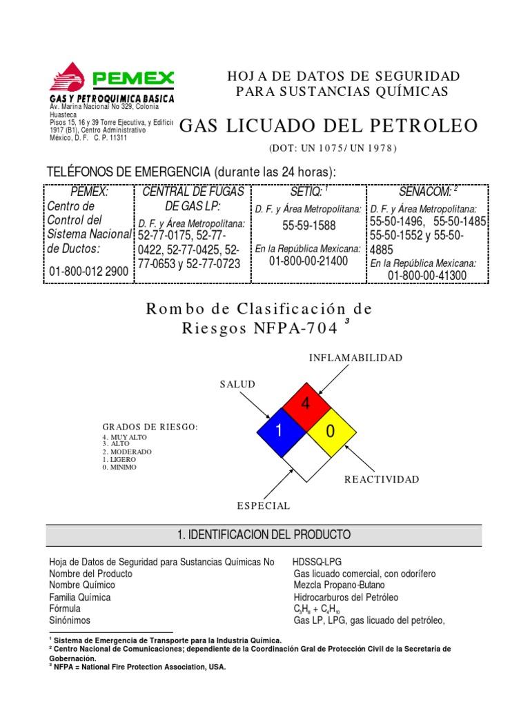 Hoja De Datos Del Gas Licuado De Petr Leo Gas Lp