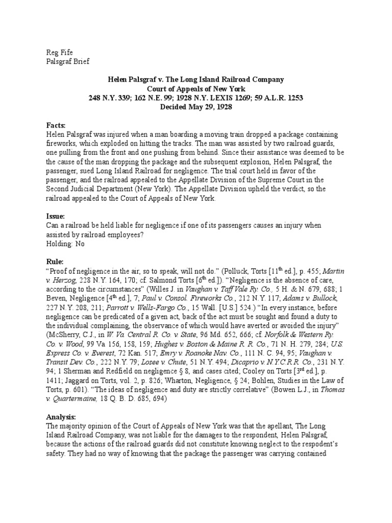 palsgraf v long island railroad co case brief