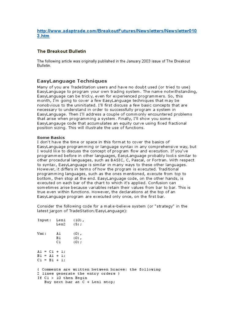 EasyLanguage Techniques | C (Programming Language