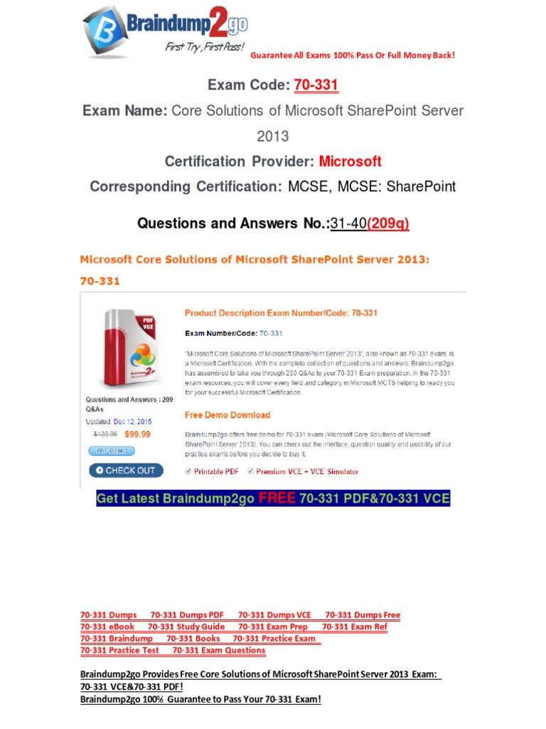 Freebraindump2go Latest 70 331 Vce Guarantee 100 Pass 31 40