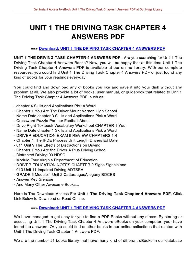 Free Driver Education Worksheets - Worksheets