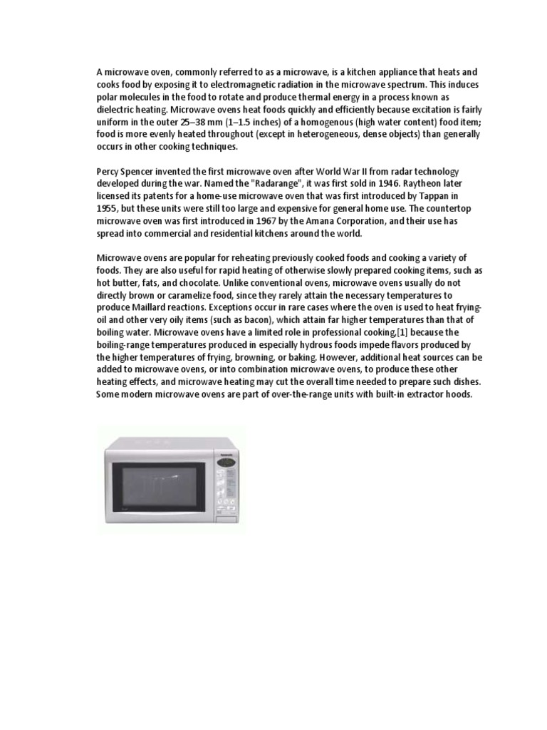 A Microwave Oven Electromagnetism Energy And Resource