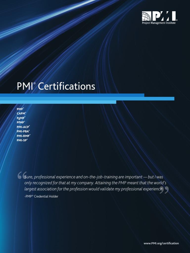 Pmi Certificationspdf Professional Certification Project Management