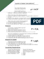 WS - Solids, Liquids & Gases Calculations