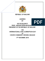 Address by President Arthur Peter Mutharika on International Anti-corruption Day at Chisitu Community Ground, Mulanje on 17th December, 2015