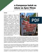Praymer Sa Pagbatok Sa Pagpangawkaw Sa Apex Mines