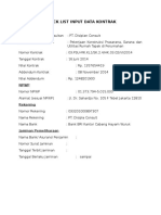 Check List Input Data Kontrak