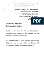 """29 05 2014 Sesión Solemne de de la LXVIII Legislatura del H. Congreso del Estado, """"Octavio Paz"""" en letras de oro"""