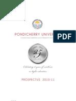pondicherry university 2010-11 prospectus