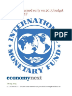 Sri Lanka warned early on 2015 budget fallout by IMF.odt