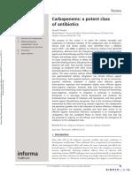 Expert Opinion on Pharmacotherapy Volume 9 Issue 1 2008 [Doi 10.1517%2F14656566.9.1.23] Nicolau, David P -- Carbapenems- A Potent Class of Antibiotics