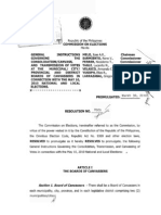 Comelec Resolution No. 8809 - General Instructions Governing the Consolidation/Canvass, and Transmission of Votes at the Municipal/City/Provincial Boards of Canvassers in Connection with the May 10, 2010 National and Local Elections