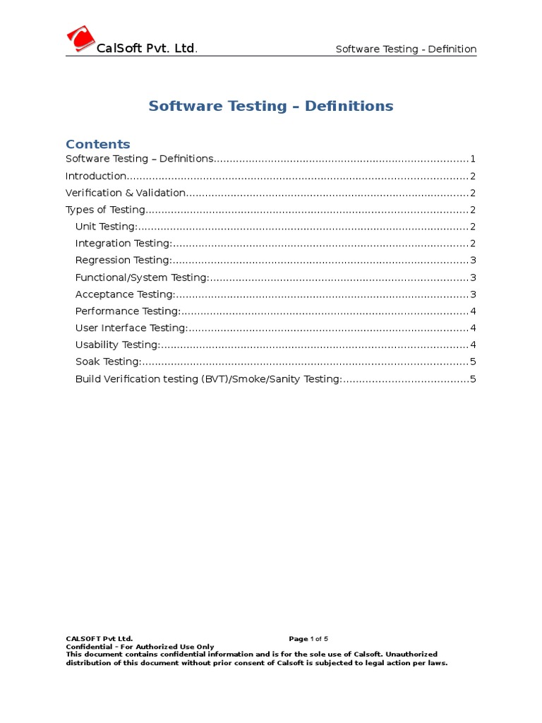 software testing - definitions | software testing | application