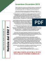 Newsletter di NOVEMBRE e DICEMBRE 2015 del Gruppo PD di Zona 7-Milano