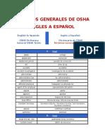 Terminos Generales de Osha Ingles a Español
