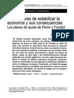 Julián Zícari. Los Planes de Ajuste de Perón y Frondizi. Realidad Económica. Abril-Mayo 2015