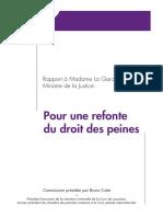 Rapport Cotte sur la refonte du droit des peines