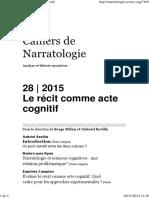 Cahiers de Narratologie 28-2015 - Le Récit Comme Acte Cognitif