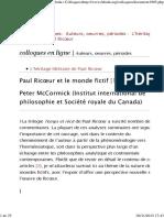McCormick, Peter (2013) - Paul Ricoeur Et Le Monde Fictif