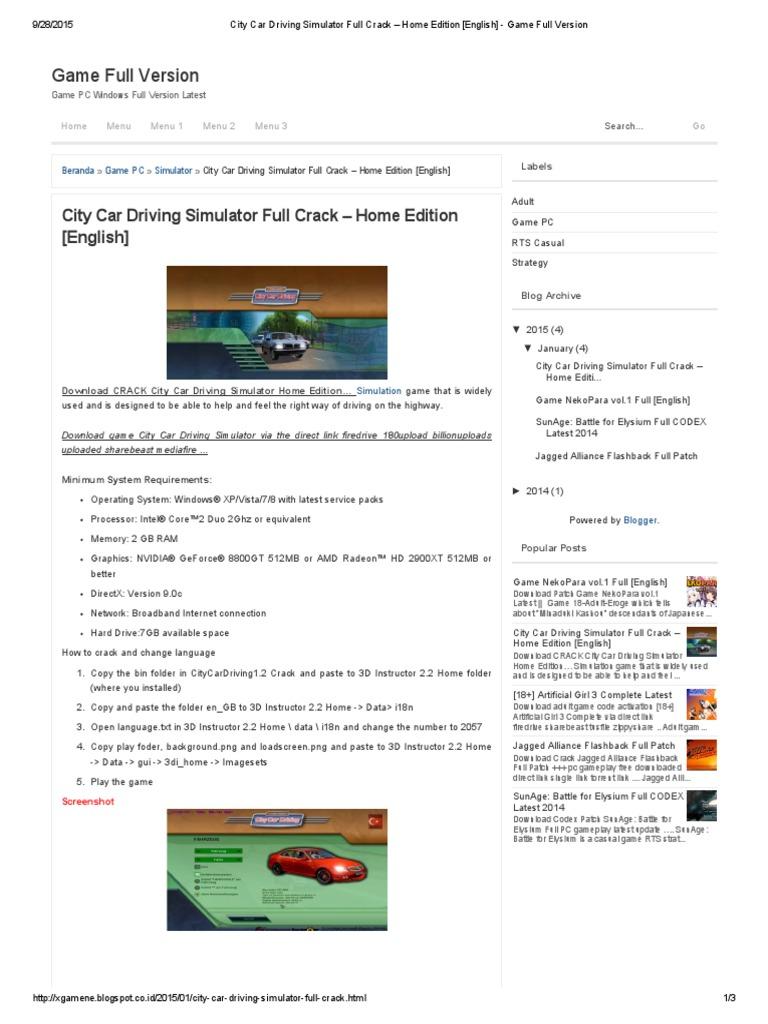City Car Driving Simulator - CNET Download