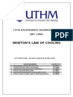 NEWTON'S LAW OF COOLING PROJECT
