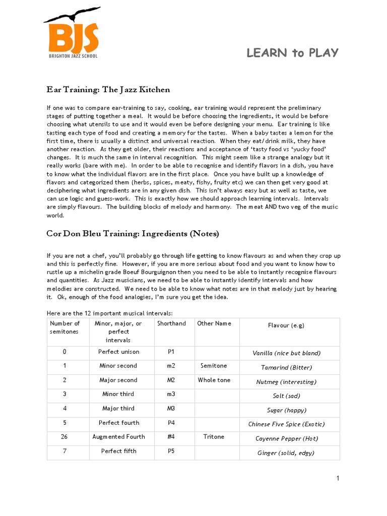 Wayne Sear Training Method the Jazz Kitchen | Pitch (Music ...