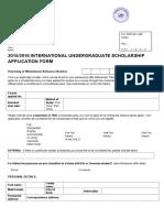 2015 16 International Undergraduate Scholarship Application Form