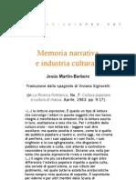 Memoria narrativa e industria culturale