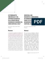 Nuñez, Tocornal, Henríquez, 2012. DETERMINANTES INDIVIDUALES Y DEL ENTORNO RESIDENCIAL EN LA PERCEPCIÓN DE SEGURIDAD EN BARRIOS DEL GRAN SANTIAGO, CHILE