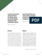 Valenzuela, A. 2012. LA EFICACIA COLECTIVA COMO ESTRATEGIA DE CONTROL SOCIAL DEL ESPACIO BARRIAL- EVIDENCIAS DESDE CUERNAVACA, MÉXICO