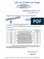 Co n.º 175 Futebol 11_marcaã‡Ãƒo de Jogos Para 11, 12, 13 e 16 Dezembro 2015