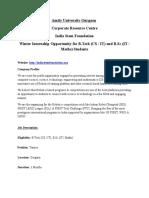 0f8aWintercxv xx Internship Notice - India Stem Foundation - B.tech ( CS & IT) & B.sc (IT, Mathematics) - 18th Dec 2015